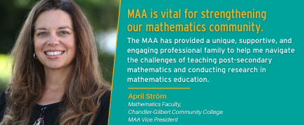 Membership testimonial from April Ström. Join the MAA!