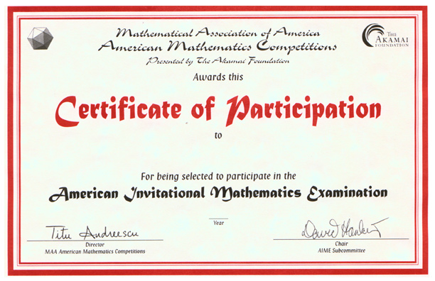 certificate of participation aime given to students selected to ...