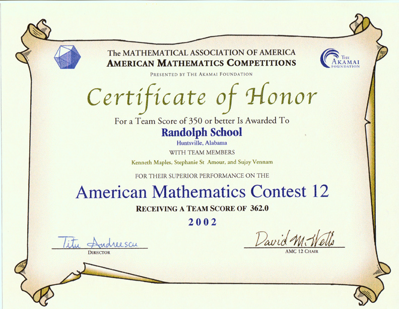 Awards for the AMC 10AMC 12 Contests AIME USAMO Examinations – Merit Certificate Sample