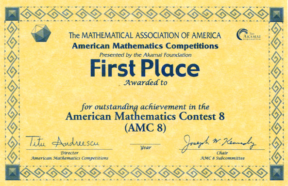 Awards For The Amc 10 Amc 12 Contests Aime Amp Usamo Examinations Mathematical Association Of