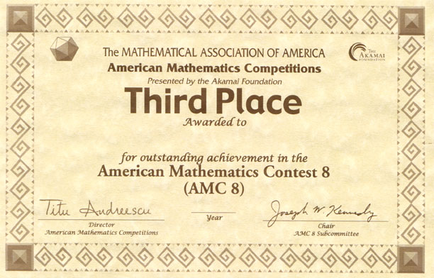Awards for the AMC 10AMC 12 Contests AIME USAMO Examinations – 1st Place Award Certificate