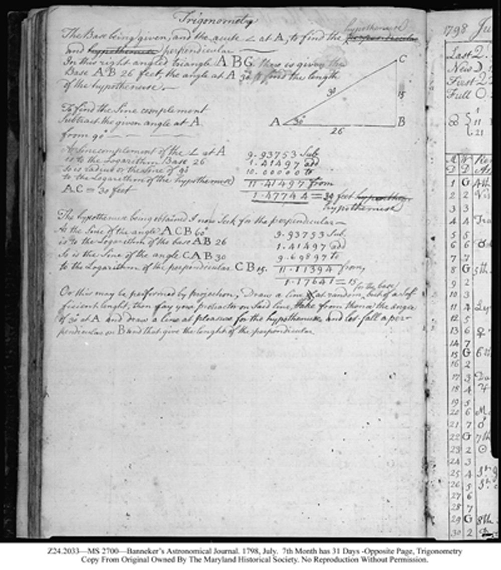 Page from Banneker's journal