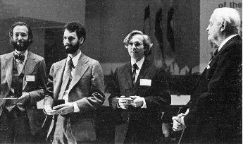 Pierre Deligne, Charles Fefferman, and Daniel Quillen receive the 1978 Fields Medals from Rolf Nevanlinna