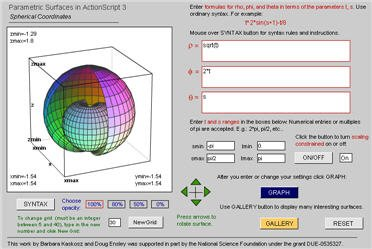 Parametric Surface Grapher -- Spherical Coordinates