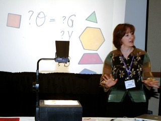 Lecturer with colorful geometric presentation