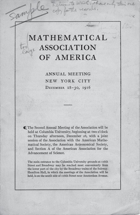 Program from the 1916 annual MAA meeting