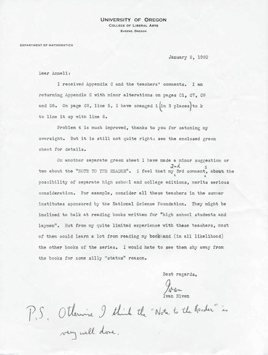 Letter from Ivan Niven