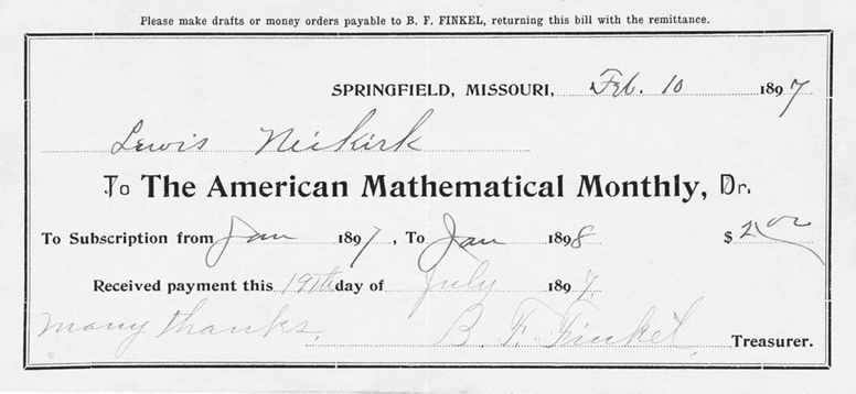 American Mathematical Monthly receipt