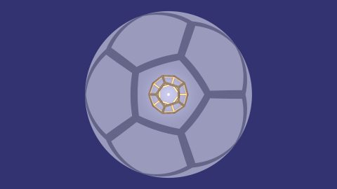 central projection of dodecahedron onto sphere, with linked animation