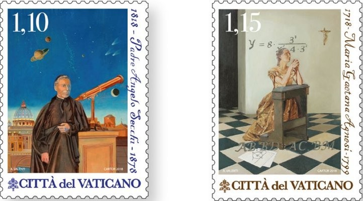 Vatican stamps honoring  Father Angelo Secchi and Maria Agnesi, 2018.