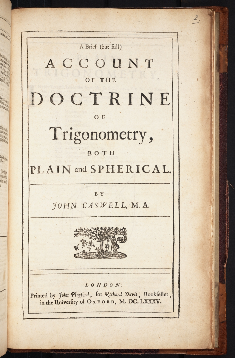 Title page of John Caswell's 1685 trigonometry textbook.