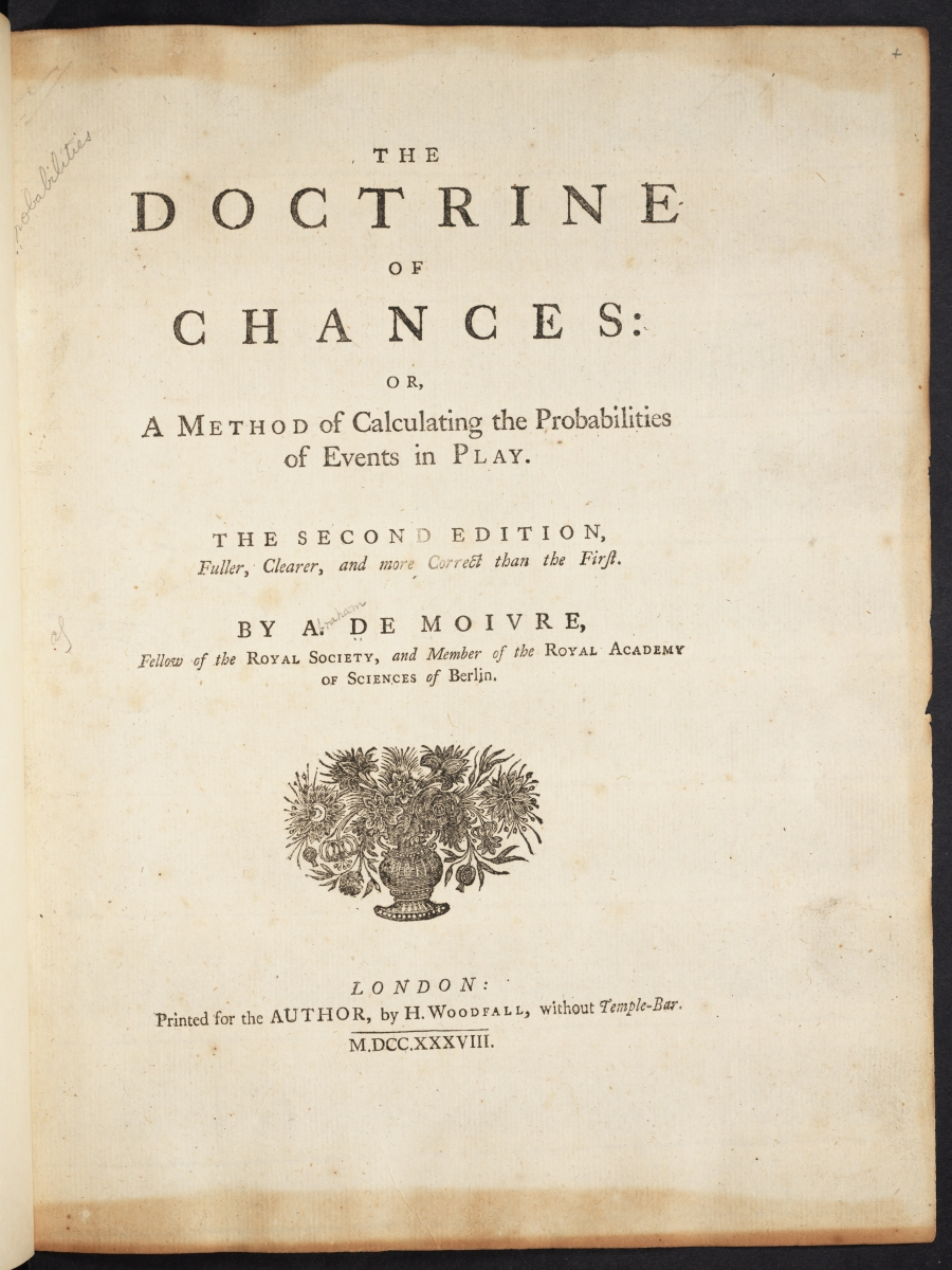 Title page of 1738 edition of de Moivre's Doctrine of Chances.