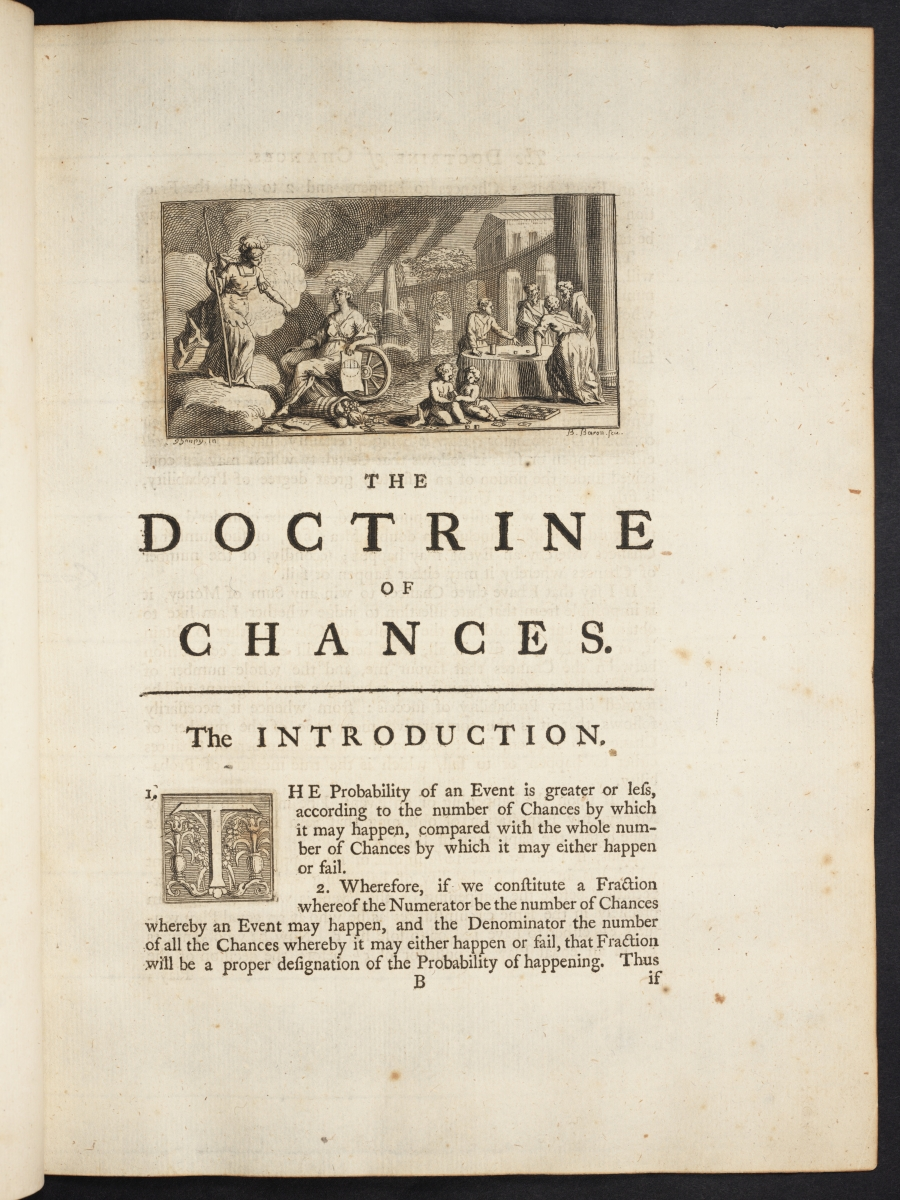 Page 1 of a 1738 edition of de Moivre's Doctrine of Chances.