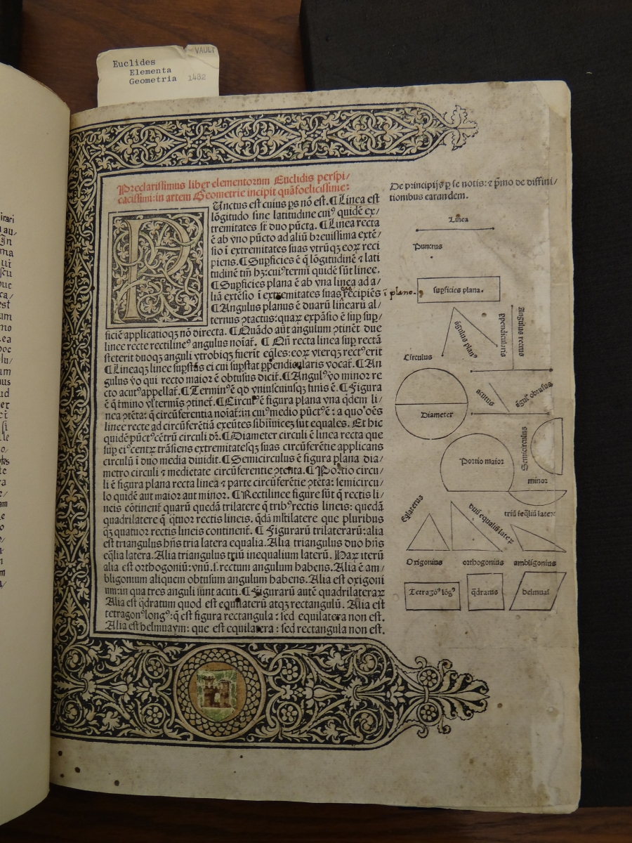Page from 1482 printing of Euclid's Elements.