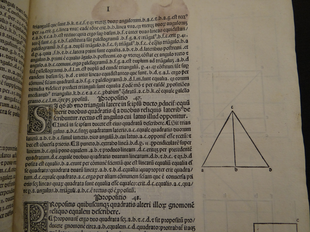 Proof of Pythagorean Theorem in 1482 printing of Euclid's Elements.