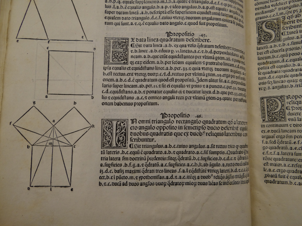 Pythagorean Theorem in 1482 printing of Euclid's Elements.