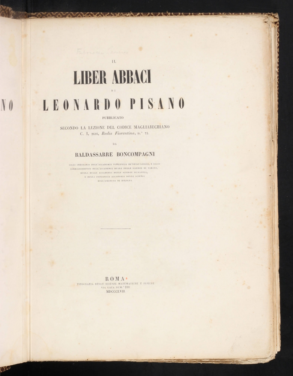 Title page from 1857 printing of Fibonacci's Liber abaci.
