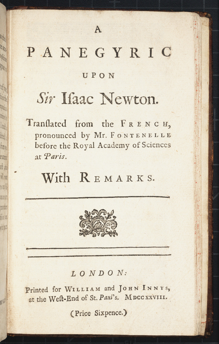 Title page of Fontenelle's 1728 Panegyric upon Sir Isaac Newton.