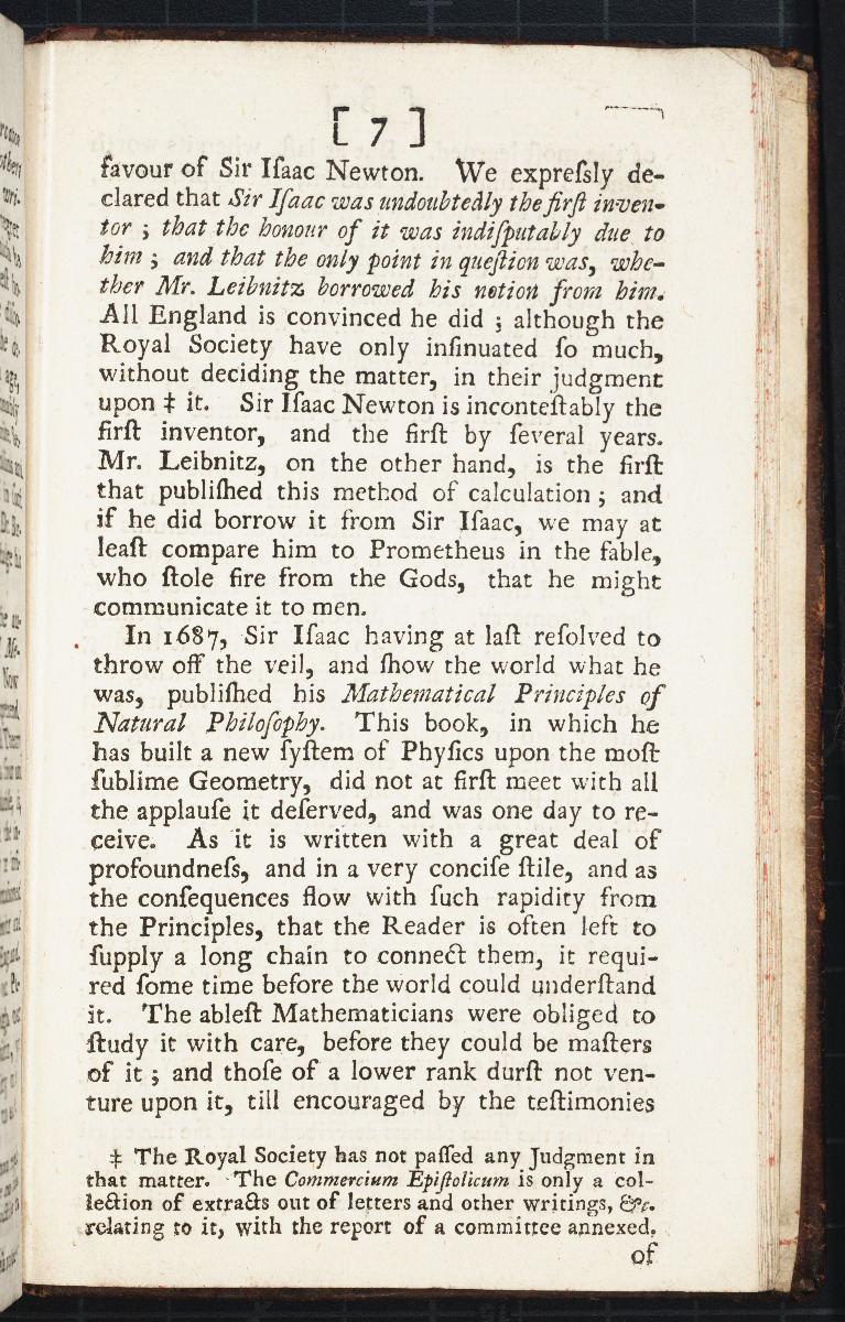 Page 7 of Fontenelle's 1728 Panegyric upon Sir Isaac Newton.