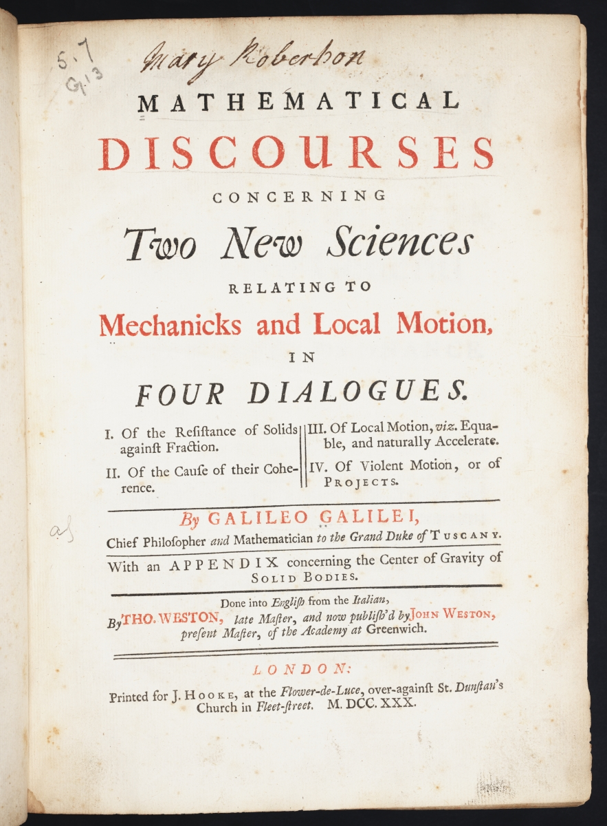Mathematical Treasure: Galileo's Two New Sciences