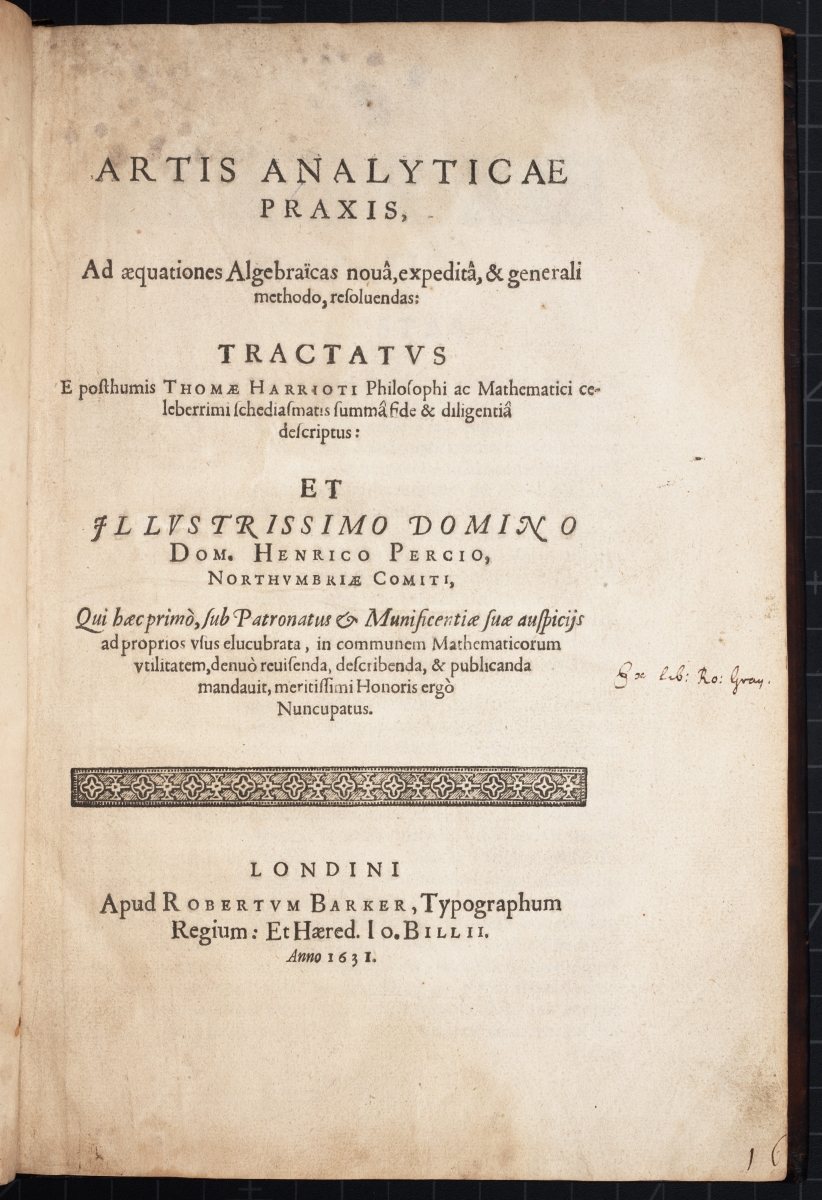 Title page for Thomas Harriot's 1631 Artis Analyticae Praxis
