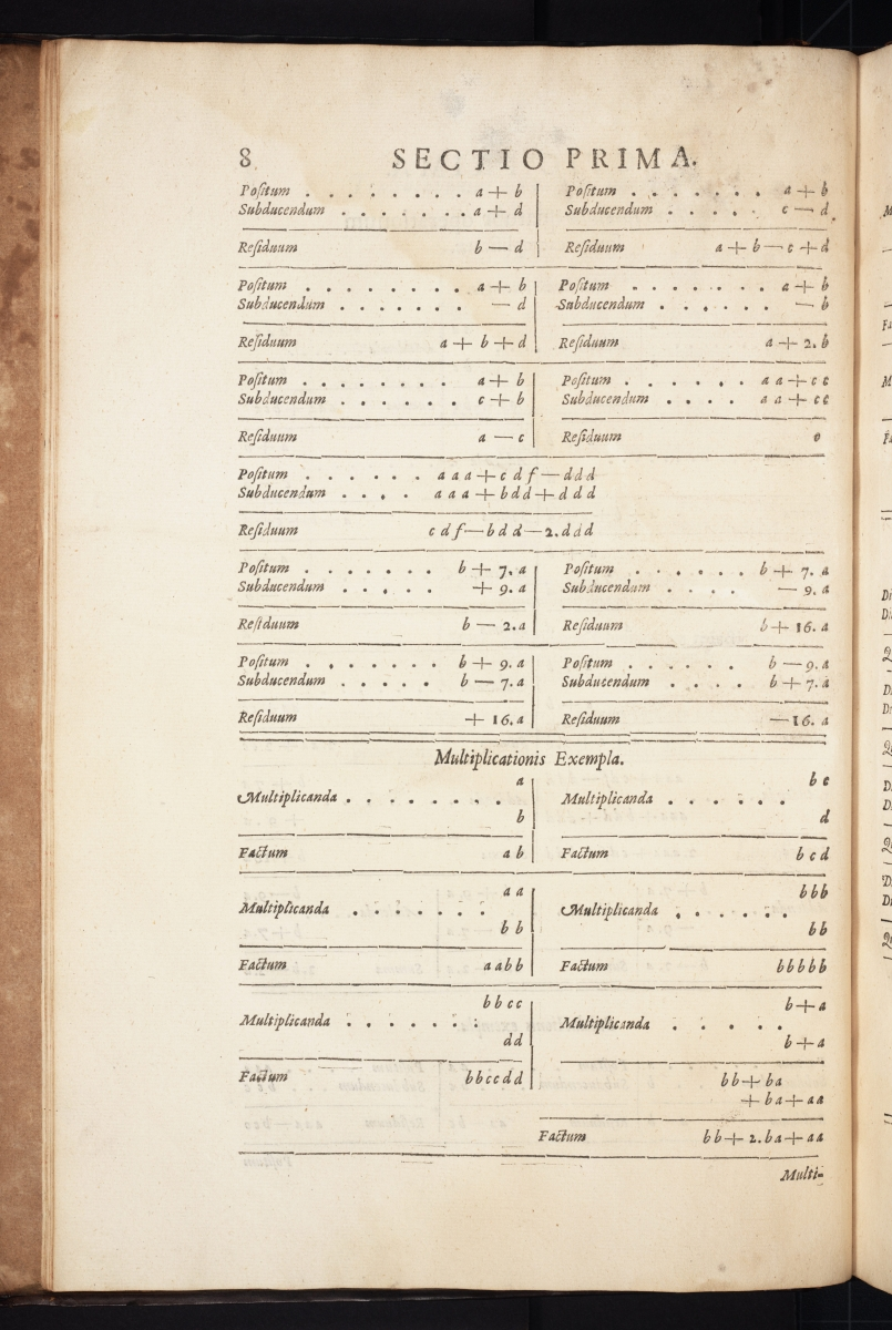 Page 8 from Thomas Harriot's 1631 Artis Analyticae Praxis