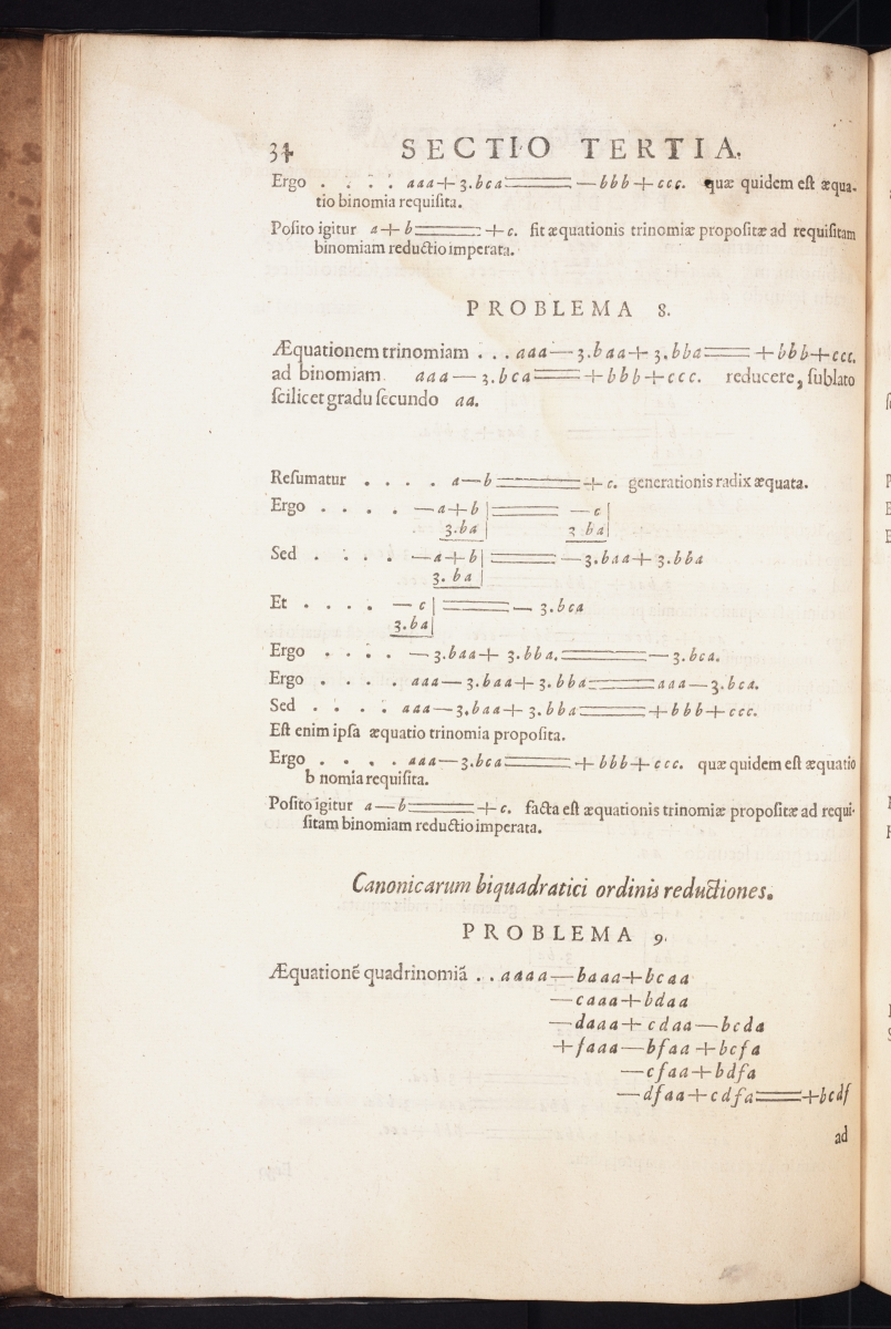 Page 34 from Thomas Harriot's 1631 Artis Analyticae Praxis