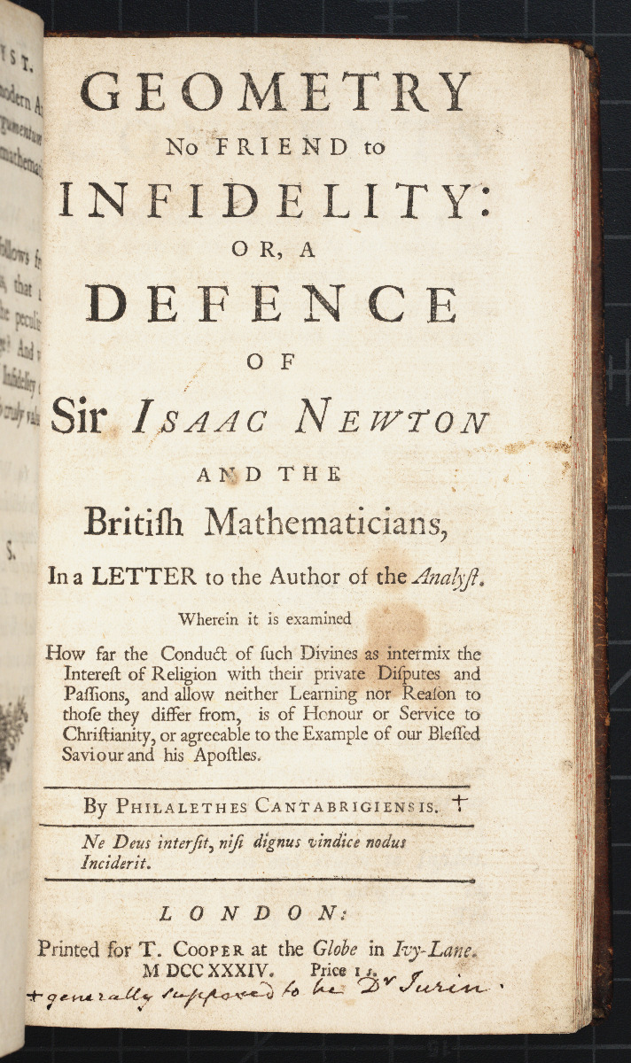 Title page of Jurin's 1734 defense of Isaac Newton.