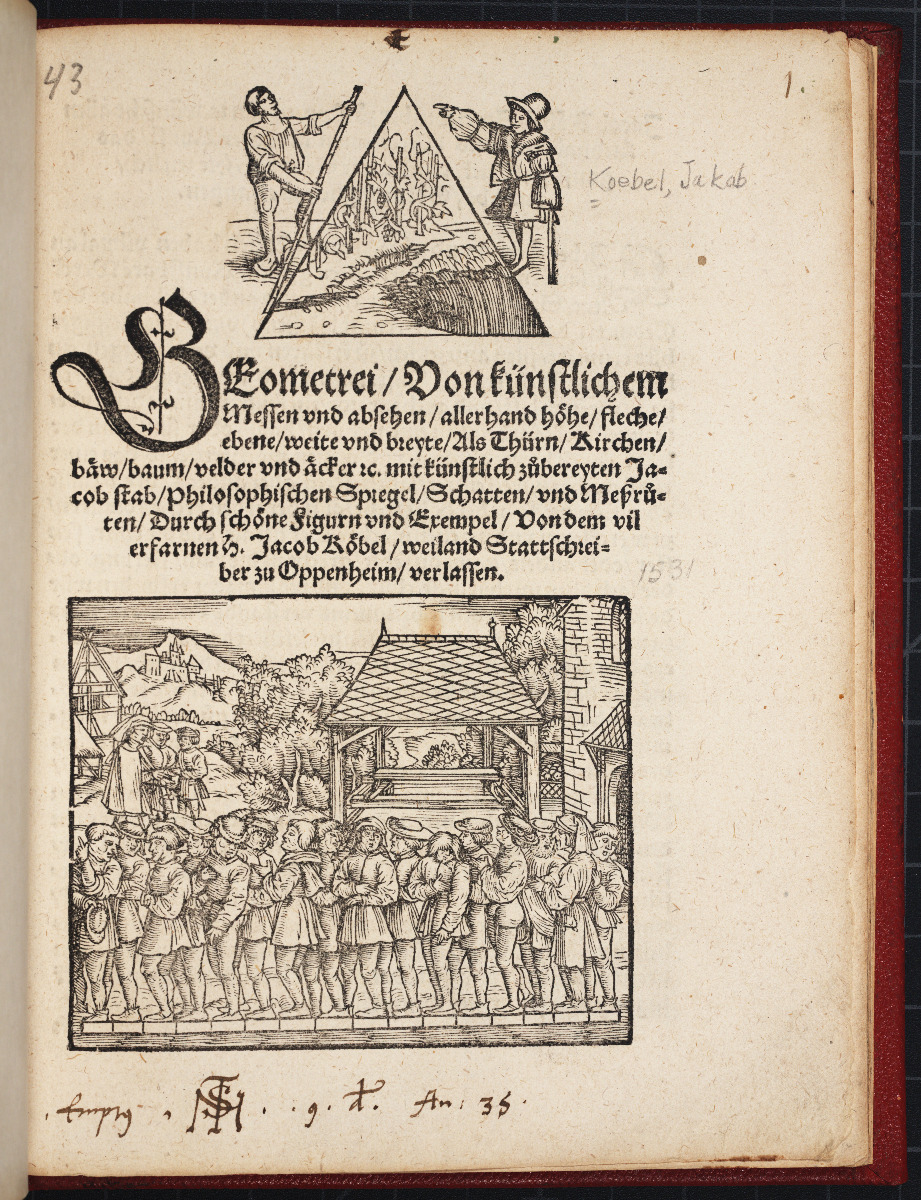 Title page of Jacob Köbel's 1535 Geometrei.