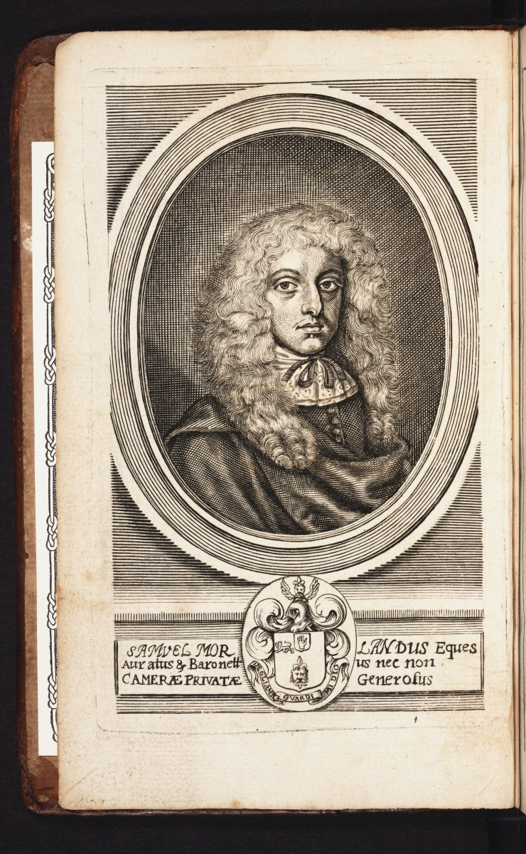 Portrait of Samuel Morland from his 1673 The Description and Use of Two Arithmetick Instruments.