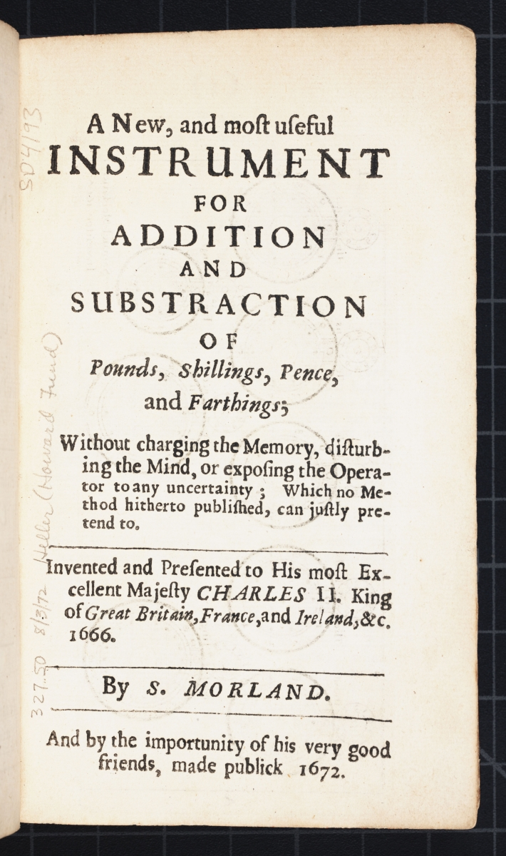 Section title page from Samuel Morland's 1673 The Description and Use of Two Arithmetick Instruments.