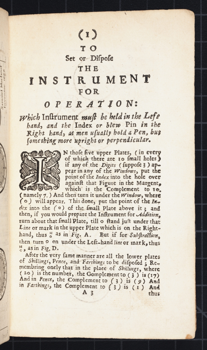 First page of instructions from Samuel Morland's 1673 The Description and Use of Two Arithmetick Instruments.