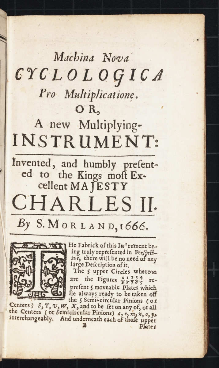 Section title page for second instrument from Samuel Morland's 1673 The Description and Use of Two Arithmetick Instruments.