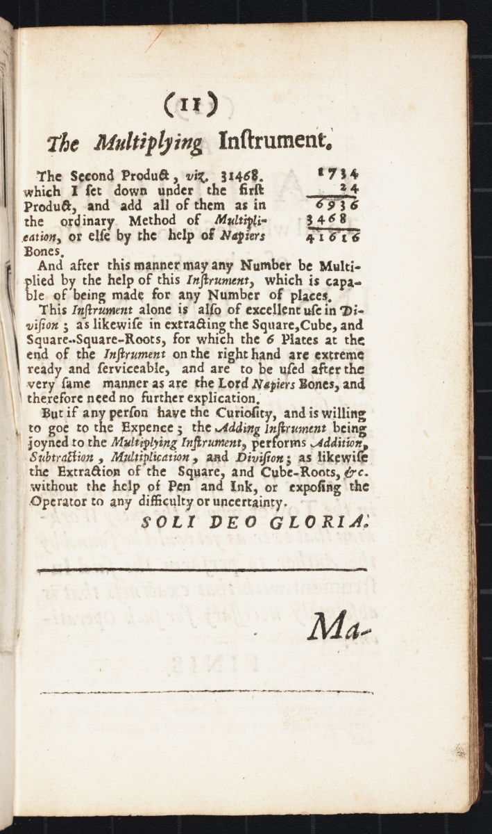 Example of use from Samuel Morland's 1673 The Description and Use of Two Arithmetick Instruments.