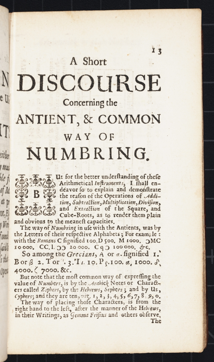 Page 13 from Samuel Morland's 1673 The Description and Use of Two Arithmetick Instruments.