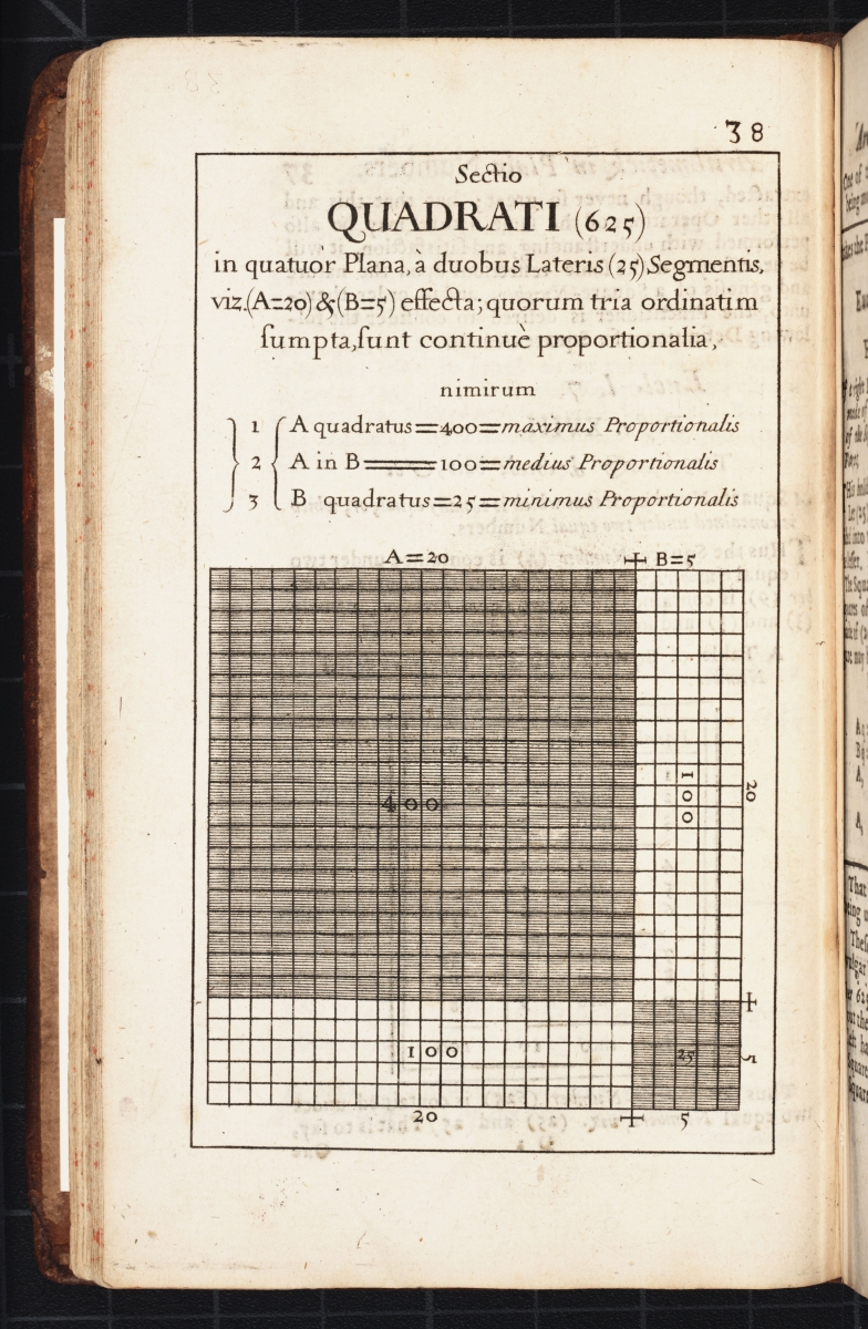 Page 38 from Samuel Morland's 1673 The Description and Use of Two Arithmetick Instruments.