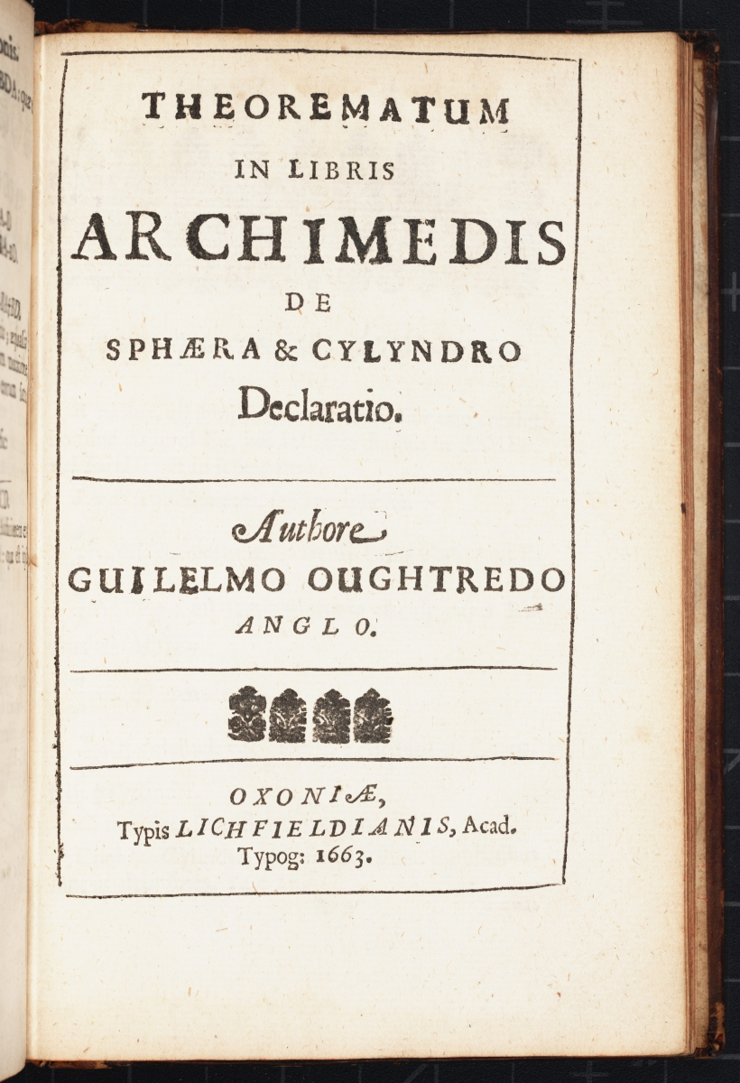 Title page of William Oughtred's 1663 Theorematum in Libris Archimedis.