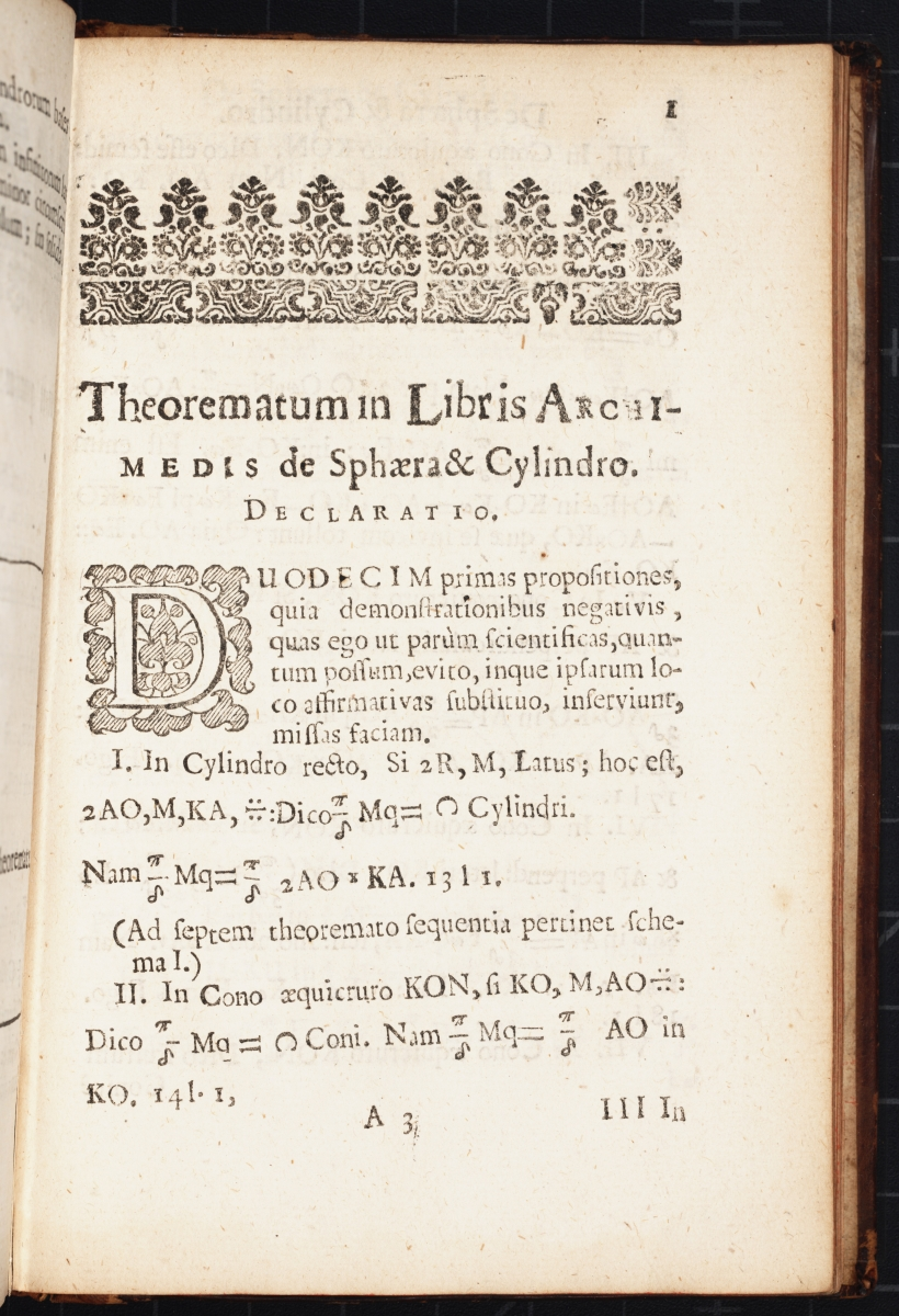 Early page from William Oughtred's 1663 Theorematum in Libris Archimedis.
