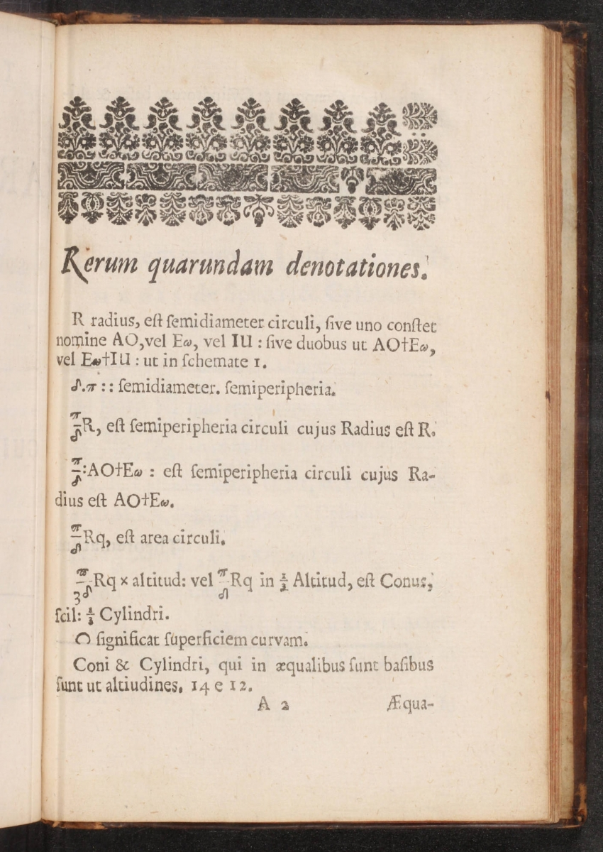 Page 2 of William Oughtred's 1663 Theorematum in Libris Archimedis.