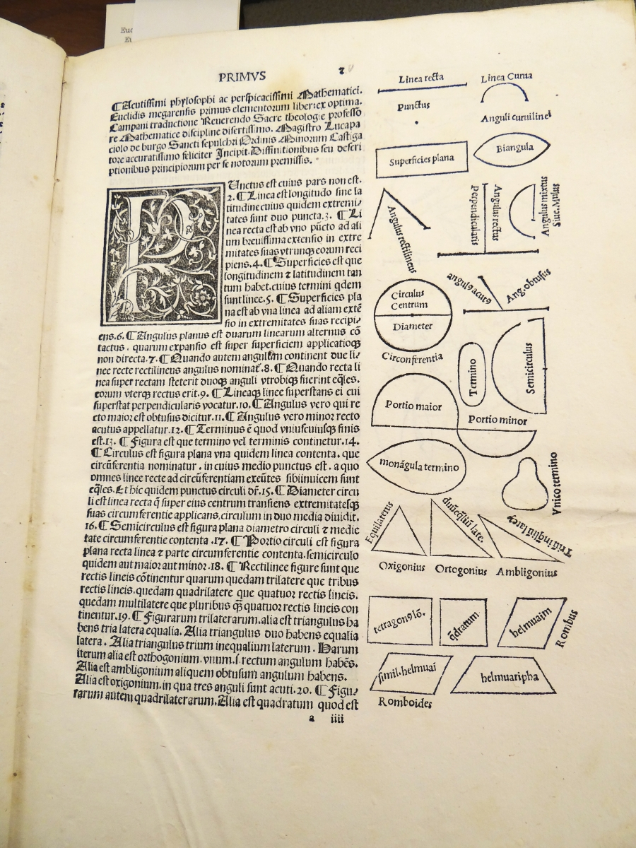 Book I, definitions, in Pacioli's 1509 Euclid.