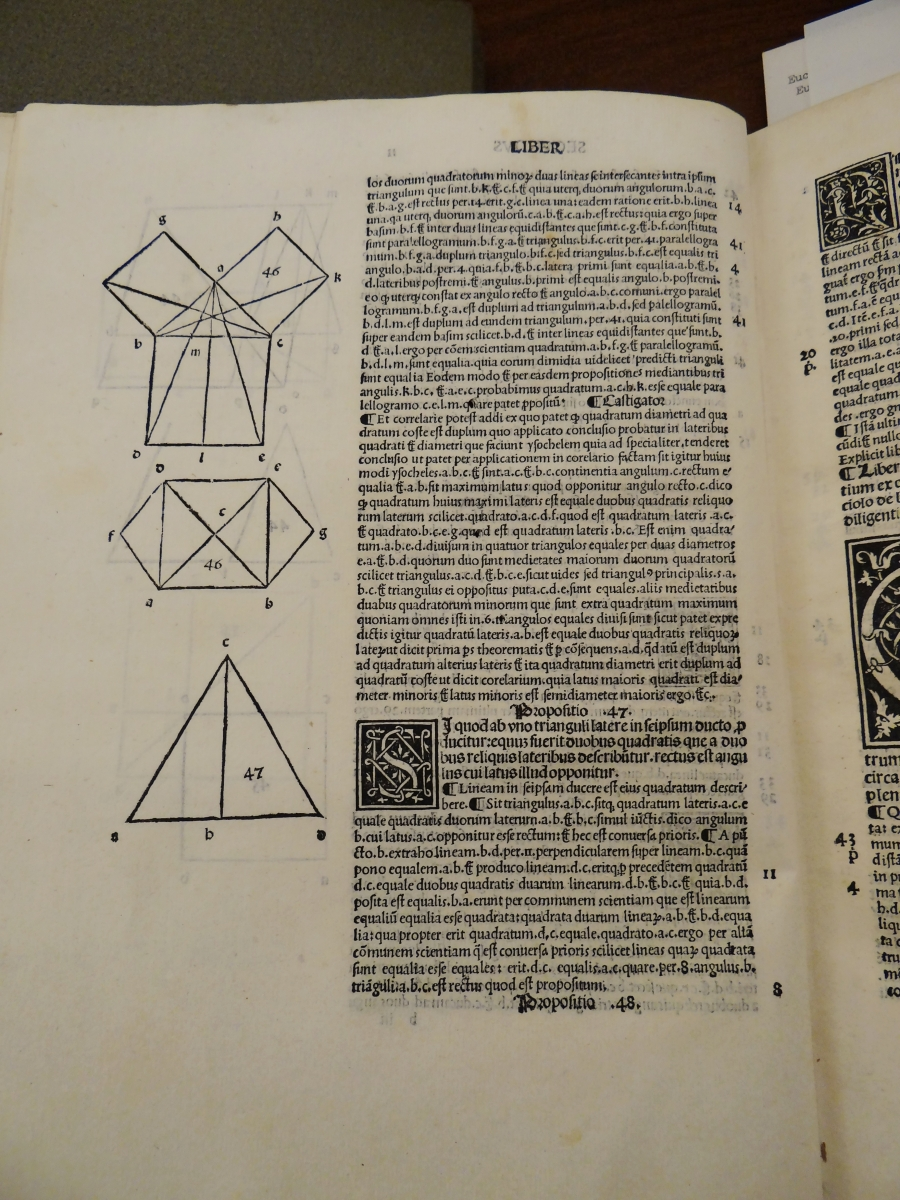 Diagrams for Proposition I.46 in Pacioli's Euclid.
