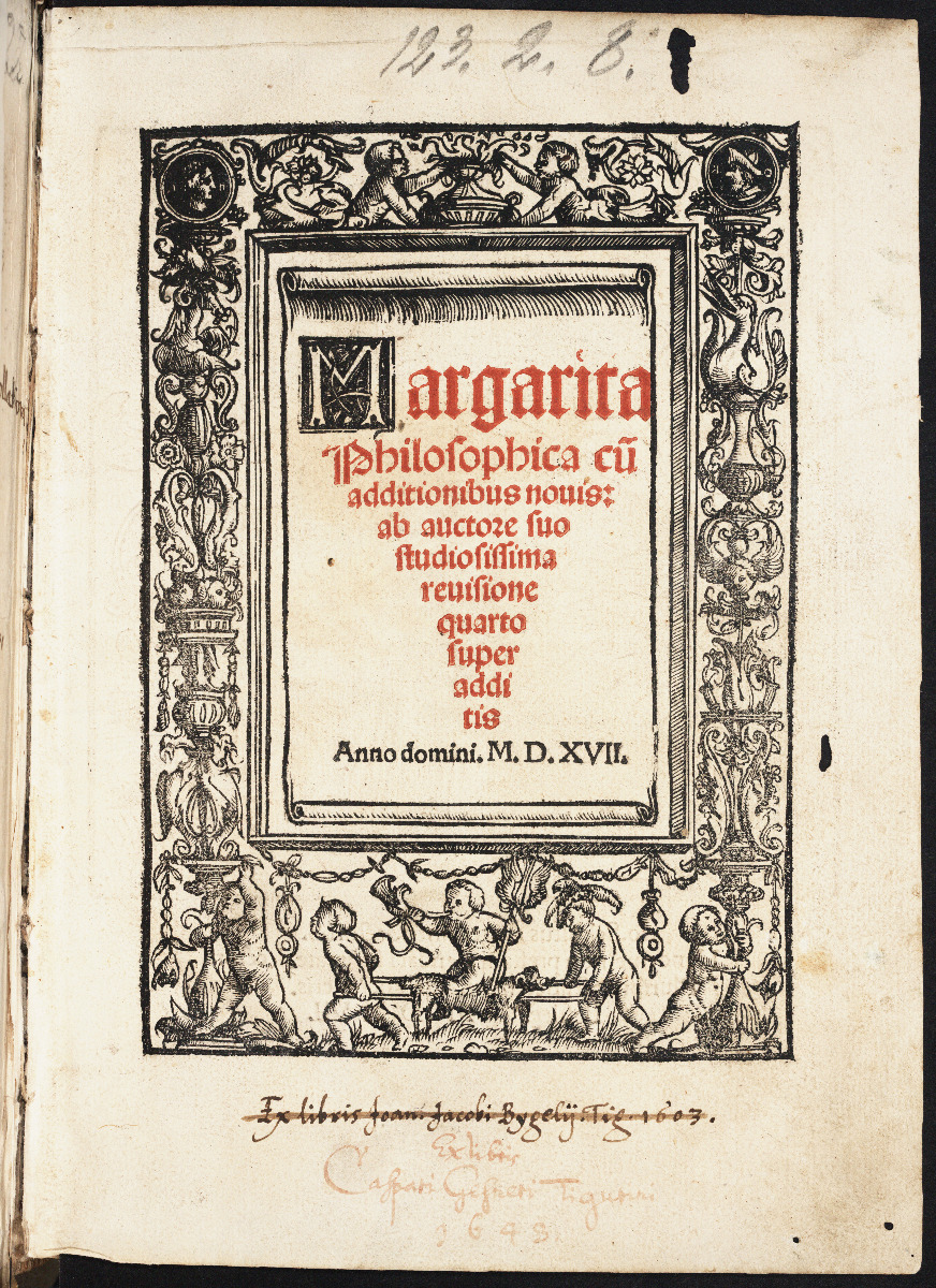 Title page of 1517 edition of Gregor Reisch's Margarita philosophica.