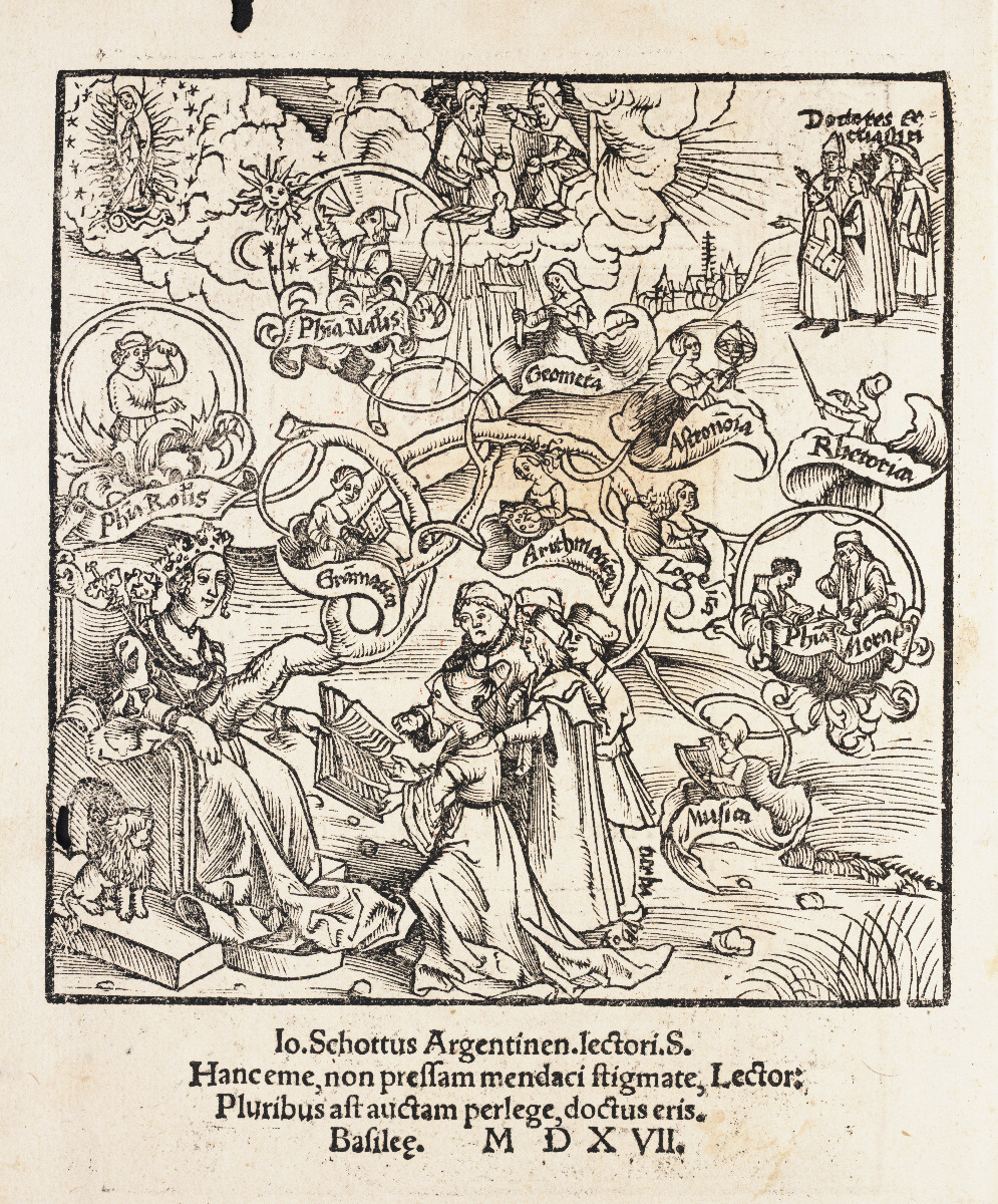 Frontispiece for 1517 edition of Gregor Reisch's Margarita Philosophica.
