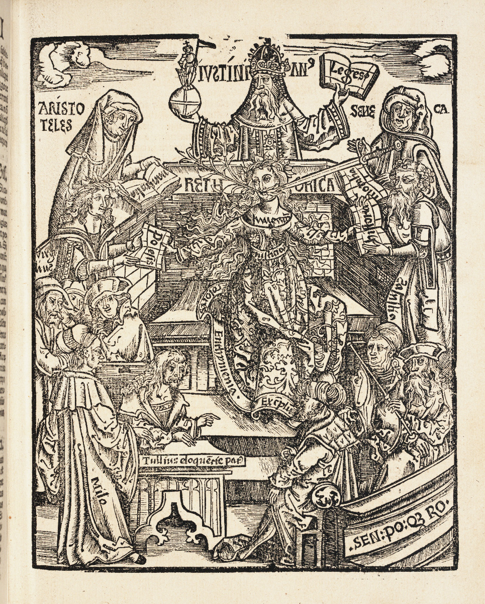 Rhetoric chapter title page from 1517 edition of Gregor Reisch's Margarita Philosophica.