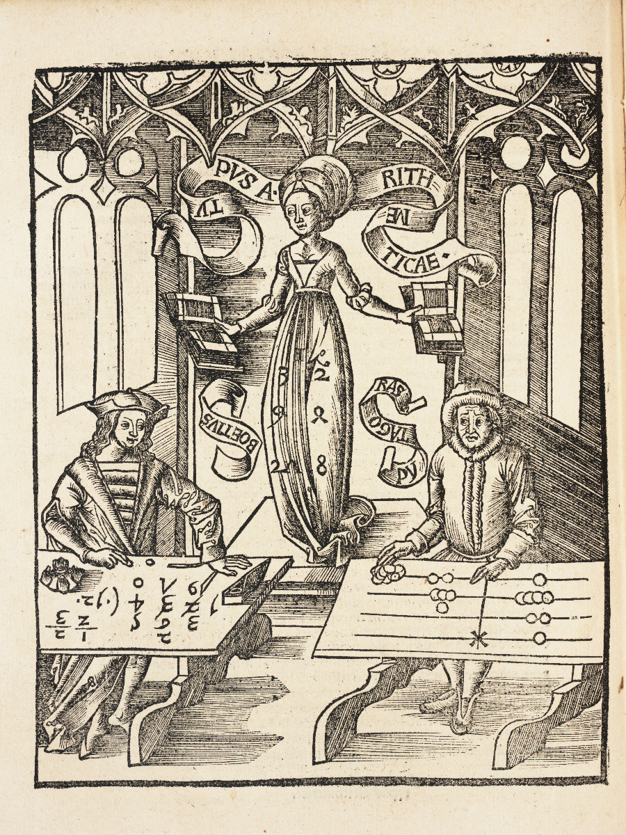 Arithmetic chapter title page from 1517 edition of Gregor Reisch's Margarita Philosophica.