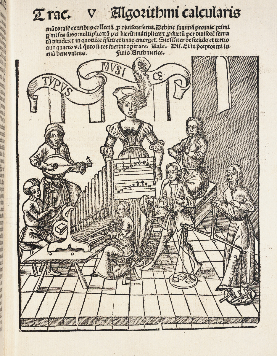 GraMusic chapter title page from 1517 edition of Gregor Reisch's Margarita Philosophica.