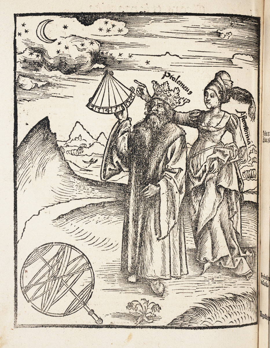 Ptolemy with Astronomy in 1517 edition of Gregor Reisch's Margarita Philosophica.
