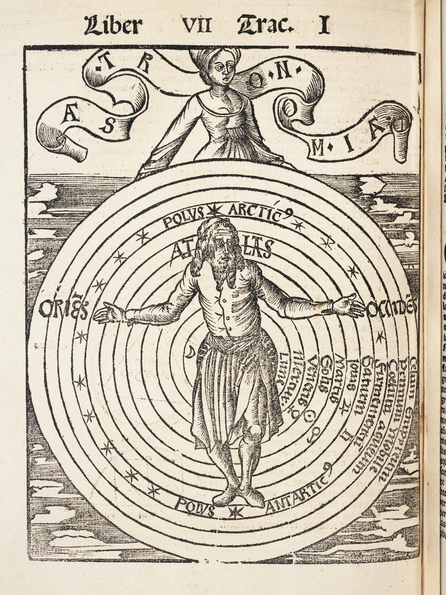 Astronomy chapter title page from 1517 edition of Gregor Reisch's Margarita Philosophica.