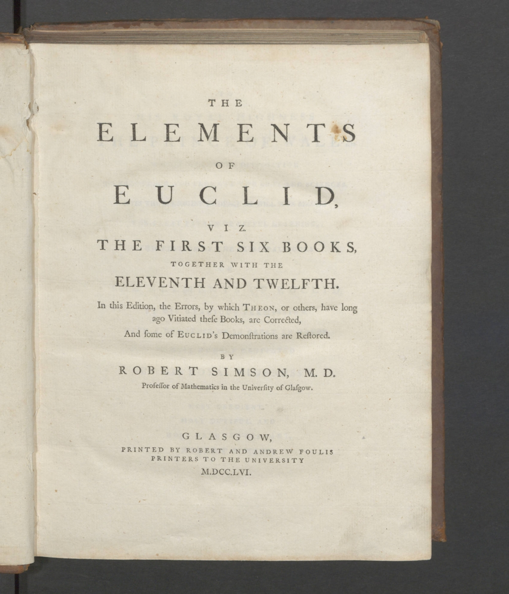 Title page of Robert Simson's 1756 The Elements of Euclid.