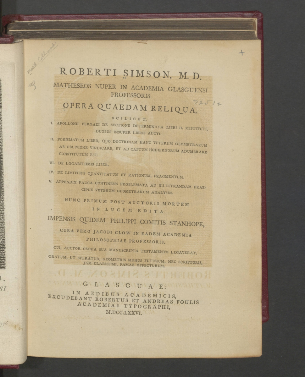 Title page of Robert Simson's posthumous works.